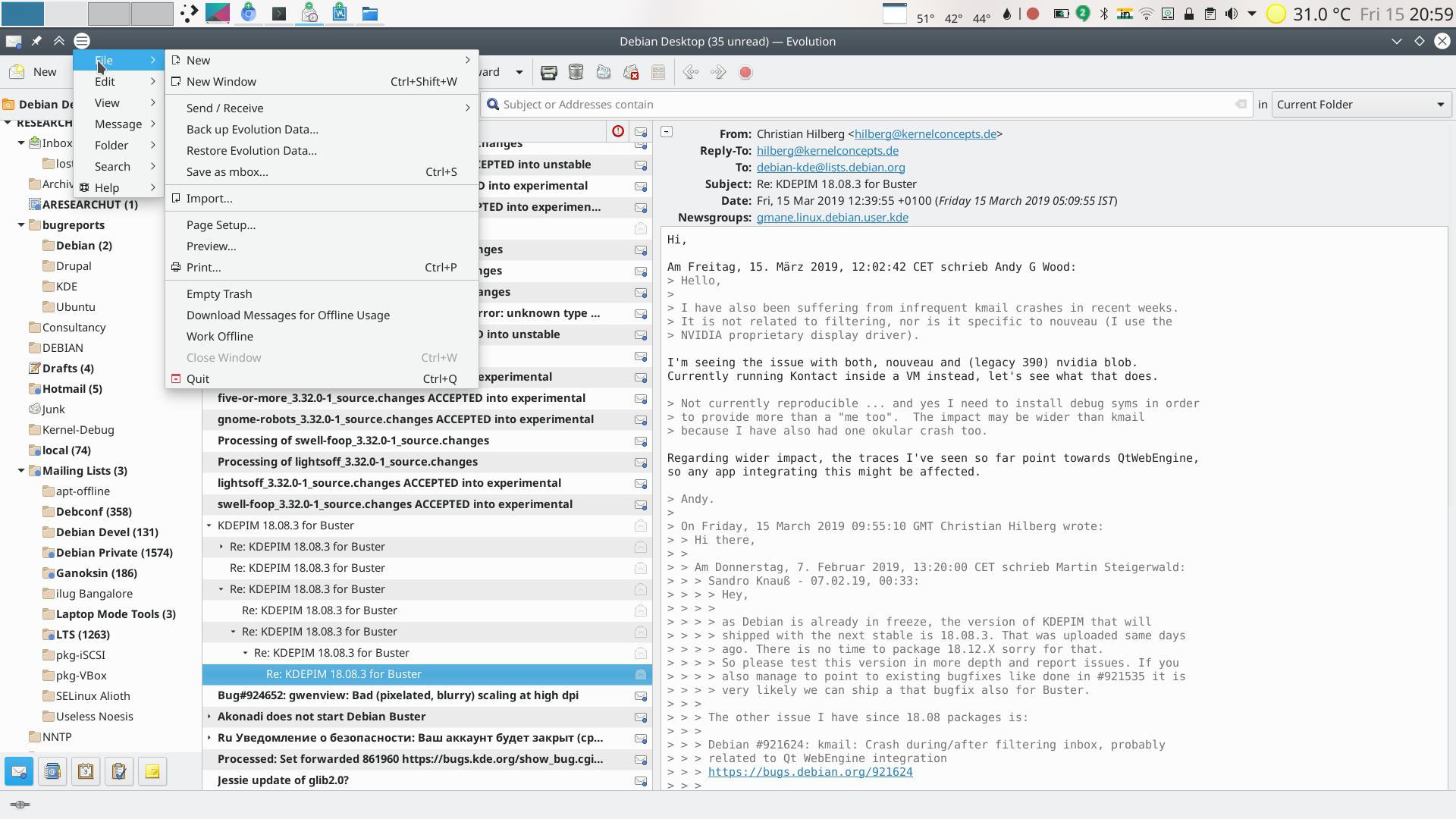 Evolution KDE/GNOME Integration